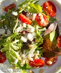 Baby Lettuce Greens with Feta, Pine Nuts & Grape Tomatoes