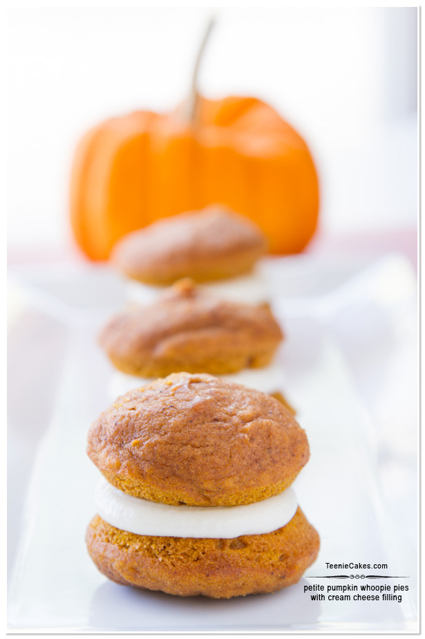 Sandwiched Pumpkin Whoopie Pies with Cream Cheese filling | TeenieCakes.com
