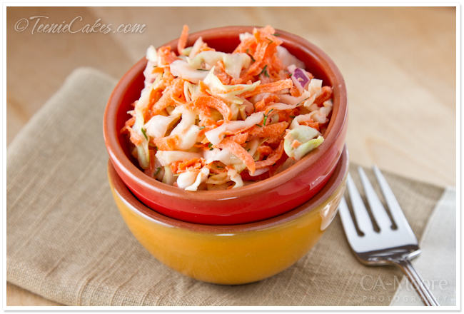 Carrot Slaw with Non-Fat Yogurt Dressing