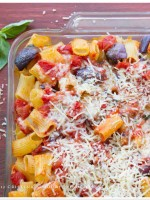 Baked Rigatoni al telefono with Smoked Mozzarella and Aubergine - Eggplant recipe | TeenieCakes.com