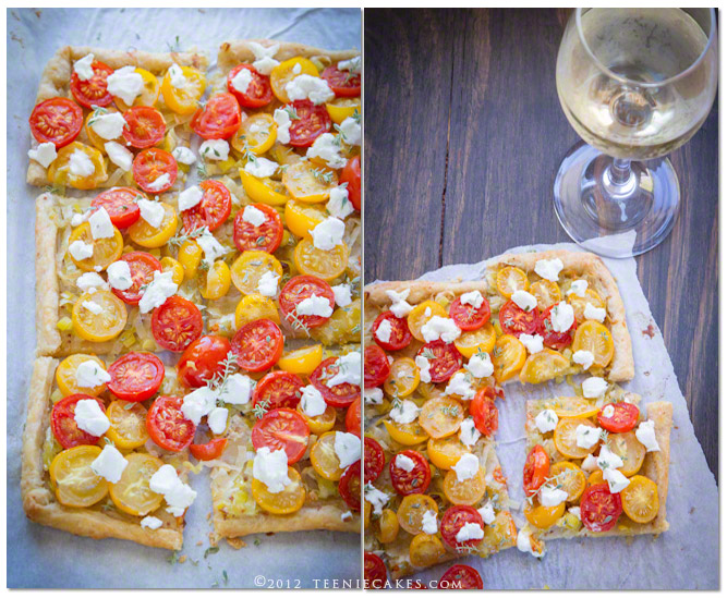 Tomato and Goat Cheese Tart with Leeks recipe | TeenieCakes.com