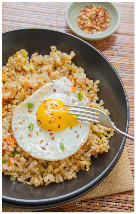 Kimchi Fried Brown Rice with Fried Egg recipe | TeenieCa