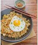 Kimchi Fried Brown Rice with Fried Eggs