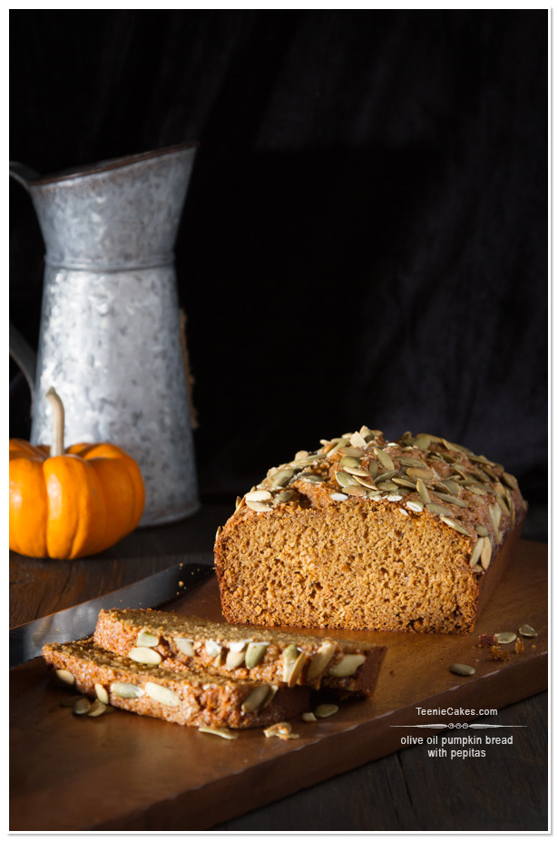 Olive Oil Pumpkin Bread with Pepitas recipe | TeenieCakes.com