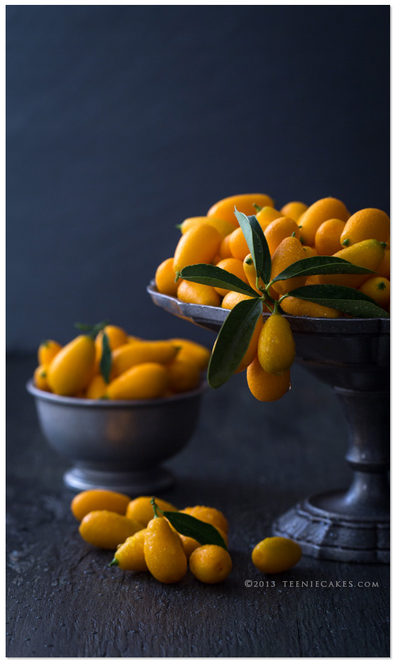 Nagami Kumquats in pewter dishes from TeenieCakes.com