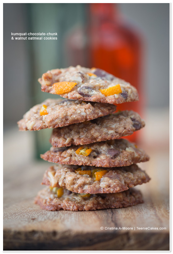 Kumquat Chocolate-Chunk & Walnut Oatmeal Cookies from TeenieCakes.com