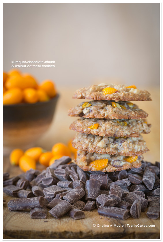Kumquat-Chocolate-Chunk & Walnut Oatmeal Cookies from TeenieCakes.com