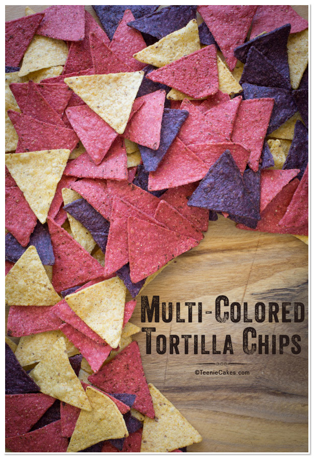 Multi-Colored Tortilla Chips for Queso Fundido with Roasted Poblano Vinaigrette recipe | TeenieCakes.com