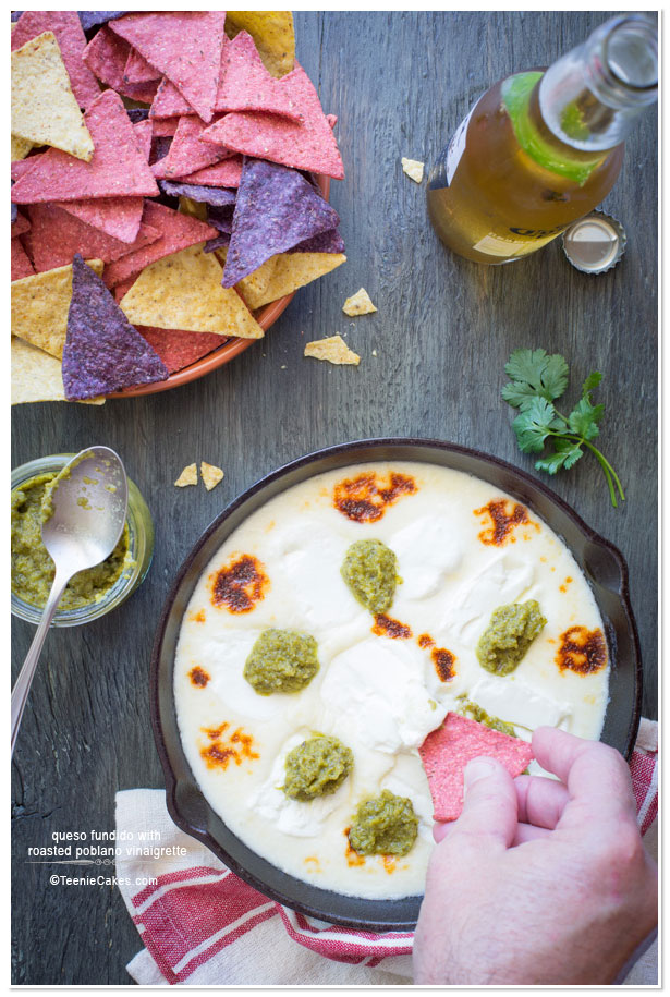 Queso Fundido with Roasted Poblano Vinaigrette | TeenieCakes.com