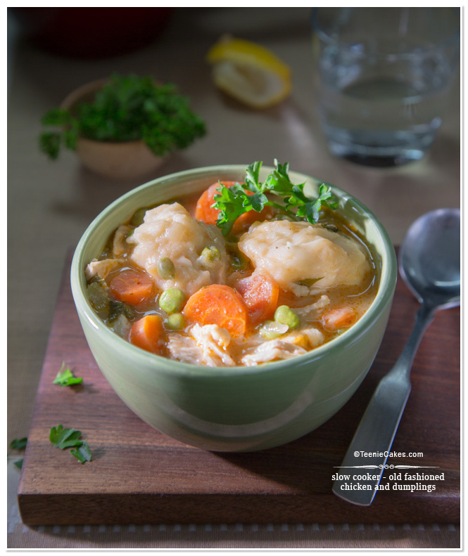 Slow Cooker - Old-Fashioned Chicken and Dumplings recipe | TeenieCakes.com