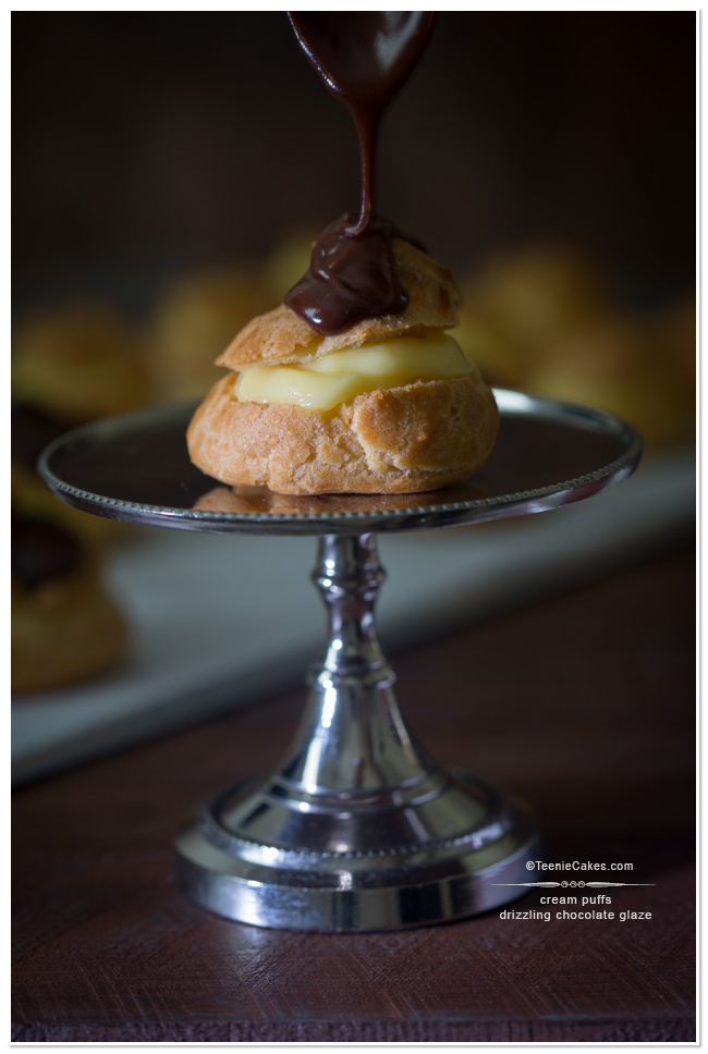 Cream Puffs - Drizzling Chocolate Glaze | TeenieCakes.com