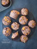 Double Chocolate Ricotta Muffins w/Kumquats & Walnuts recipe | TeenieCakes.com