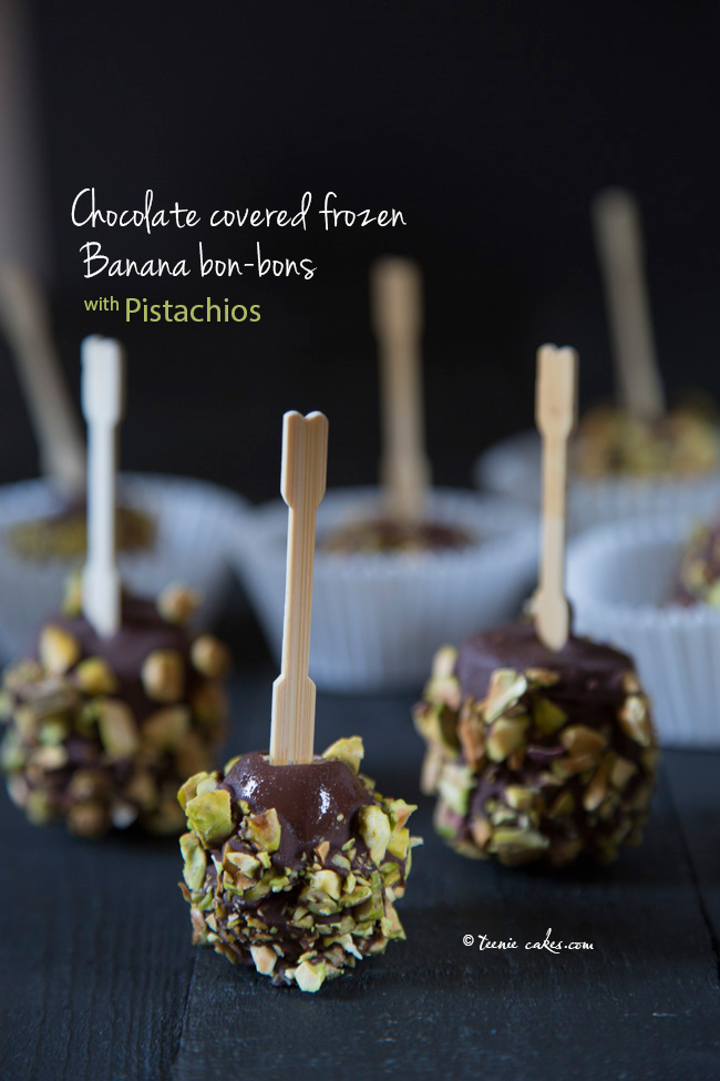 Chocolate covered frozen banana bon-bons with pistachios recipe | TeenieCakes.com