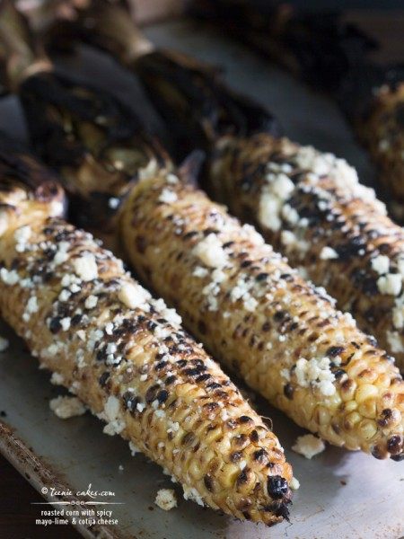 Roasted Corn with Spicy Mayo-Lime & Cotija Cheese recipe | TeenieCakes.com