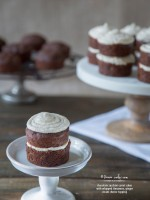 chocolate zucchini carrot cakes with whipped cinnamon, ginger cream cheese topping recipe | TeenieCakes.com