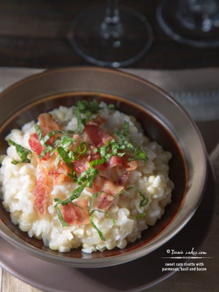 Sweet corn risotto with parmesan, basil and bacon recipe | TeenieCakes.com