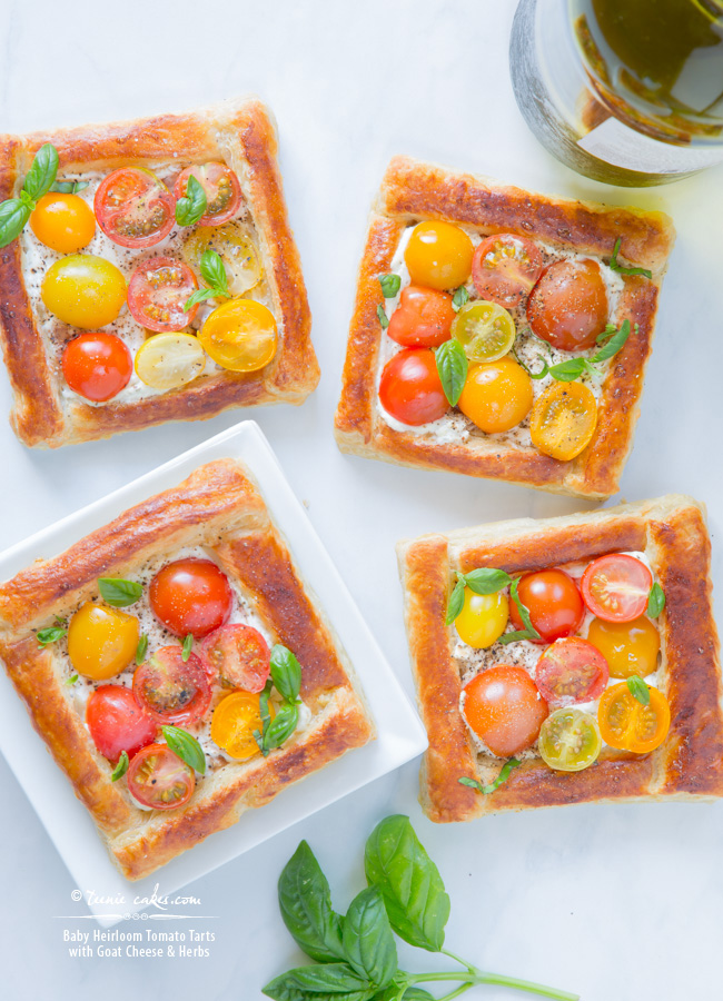 Baby Heirloom Tomato Tarts with Goat Cheese & Herbs recipe - TeenieCakes.com