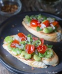 Fresh Fava Beans, Tomatoes & Mint Bruschetta