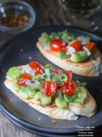 Fresh Fava, Tomato with Mint Bruschetta - TeenieCakes.com