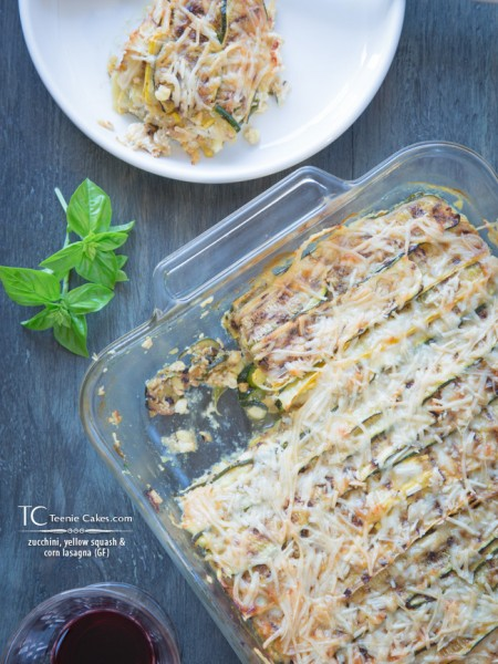 zucchini, yellow squash and corn lasagna (GF) - recipe