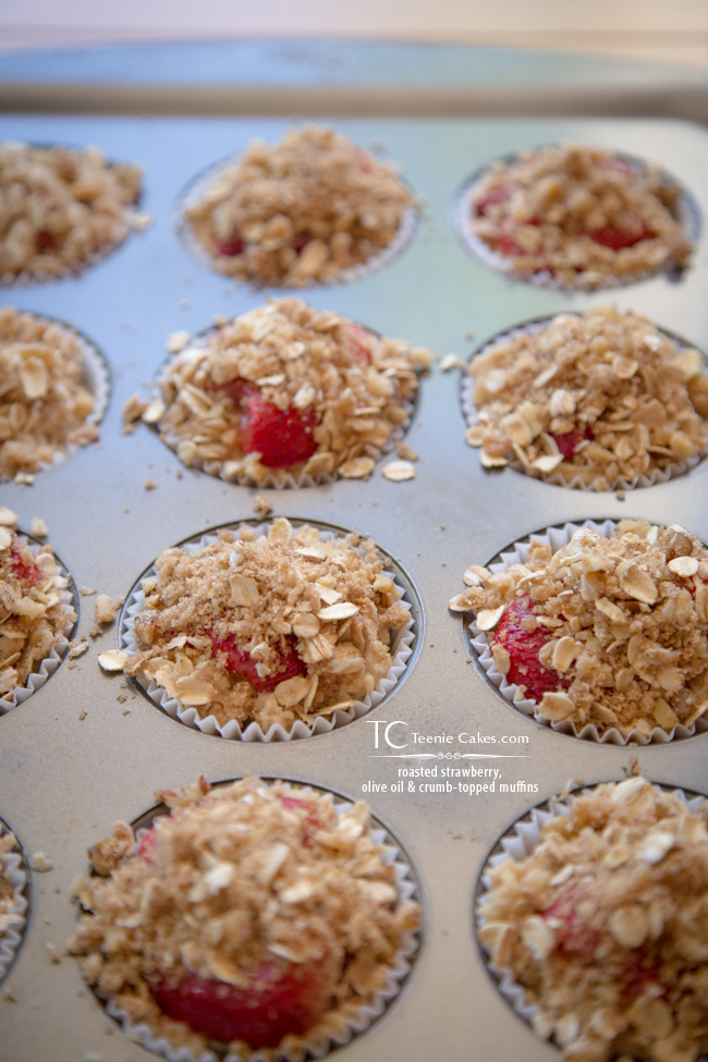 Roasted Strawberry, Olive Oil & Crumb Topped Muffins - Prep | TeenieCakes.com