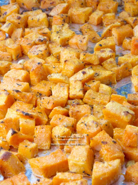 Roasted Parmesan Sweet Potatoes recipe | TeenieCakes.com