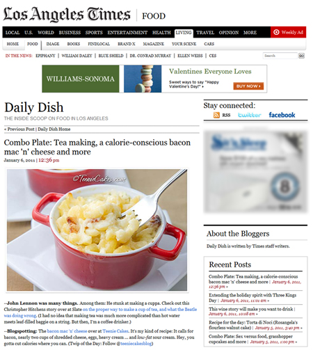 Los Angeles Times Food Section: Daily Dish on January 06, 2011