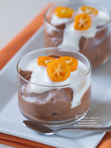 dark chocolate mousse with sugared kumquats in syrup