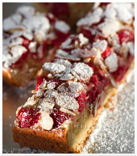 Raspberries, White Chocolate and Almond Blondies recipe | TeenieCakes.com