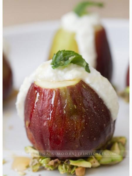 Ricotta Stuffed Figs with Pistachios and Honey recipe | TeenieCakes.com