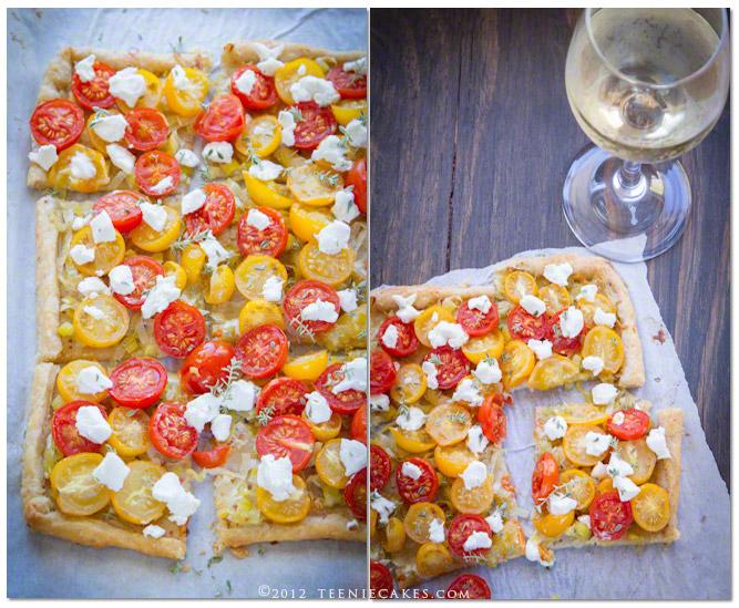 Tomato and Goat Cheese Tart with Leeks recipe | TeenieCakes.com