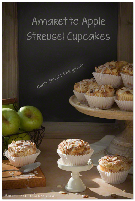 Amaretto Apple Streusel Cupcakes recipe | TeenieCakes.com