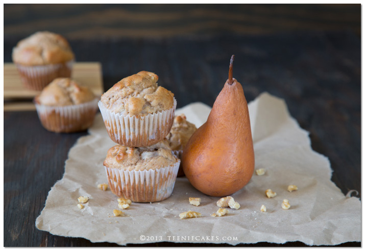 Pear and Walnut Muffins - a cookbook review | TeenieCakes.com