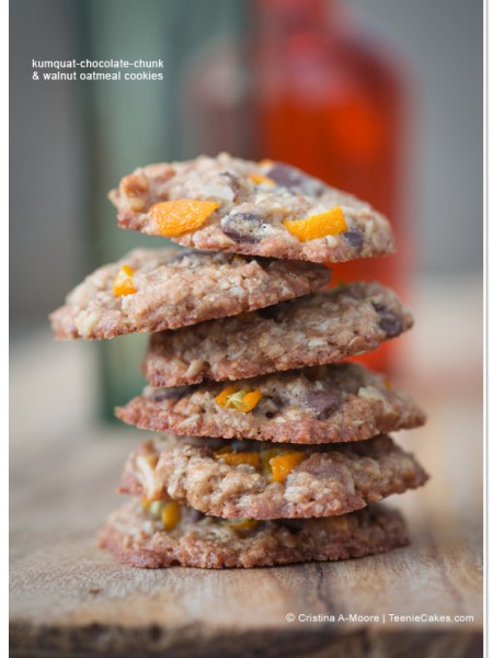 Kumquat-Chocolate-Chunk & Walnut Oatmeal Cookies recipe | TeenieCakes.com