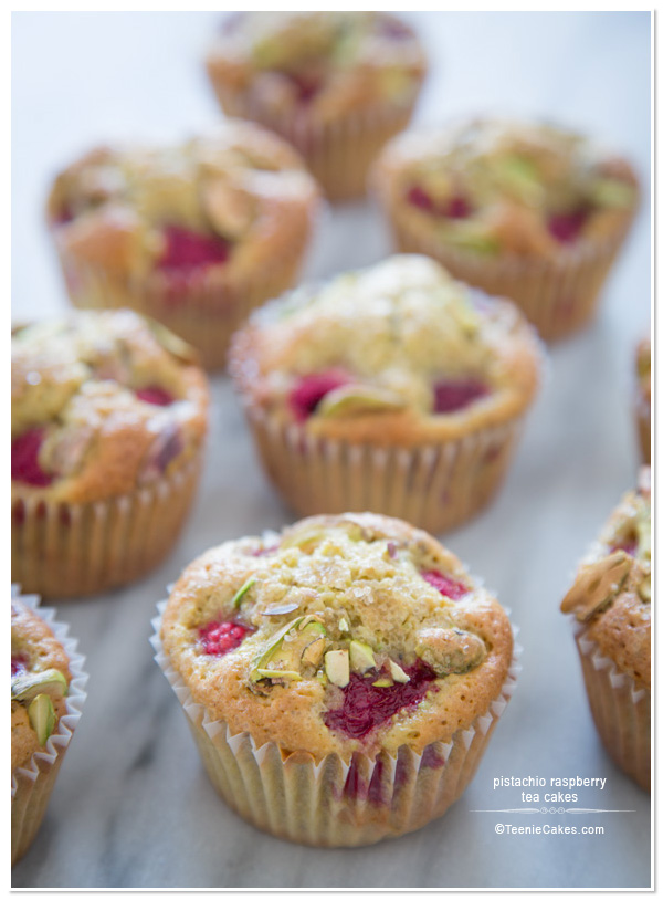 Pistachio Raspberry Tea Cakes recipe   TeenieCakes.com