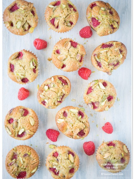 Pistachio Raspberry Tea Cakes recipe | TeenieCakes.com