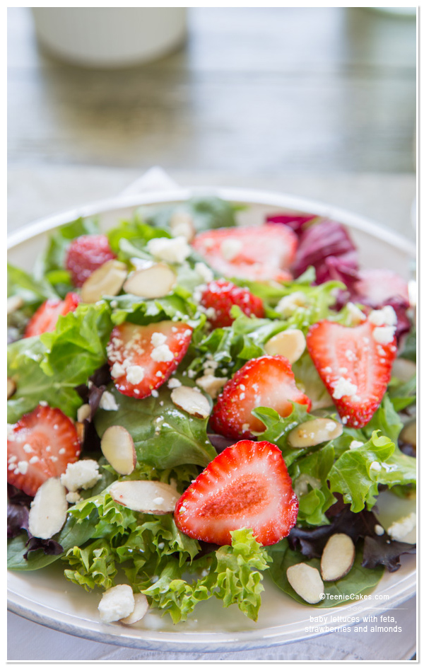 Baby Lettuces with feta, strawberries and almonds salad recipe | TeenieCakes.com