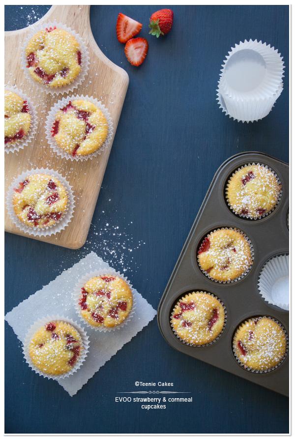 Extra Virgin Olive Oil, Strawberry & Cornmeal Cupcakes recipe   Teenie Cakes