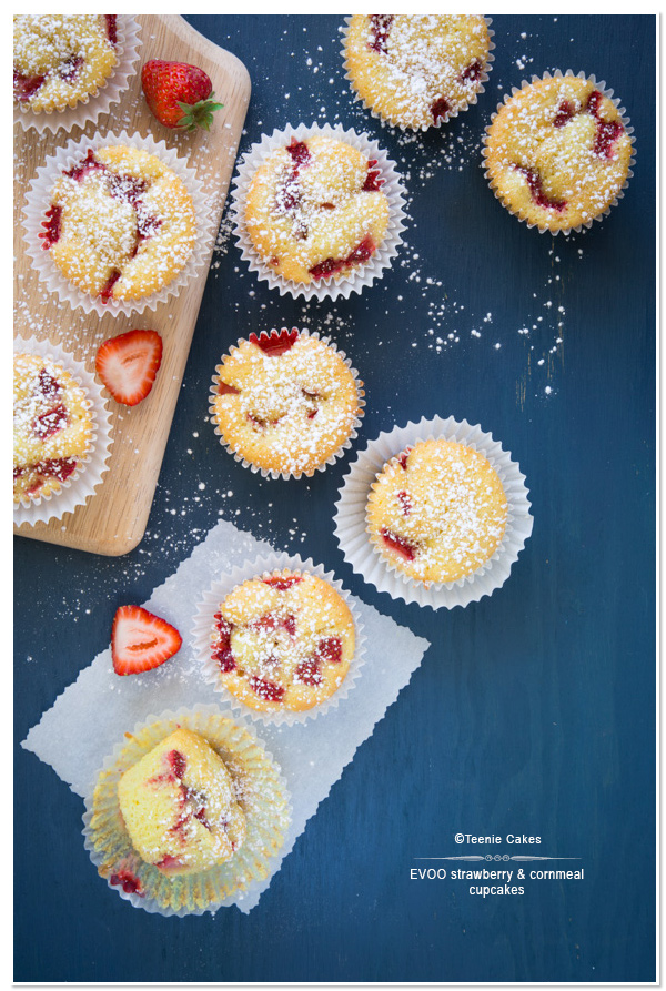 Extra Virgin Olive Oil, Strawberry & Cornmeal Cupcakes recipe | Teenie Cakes