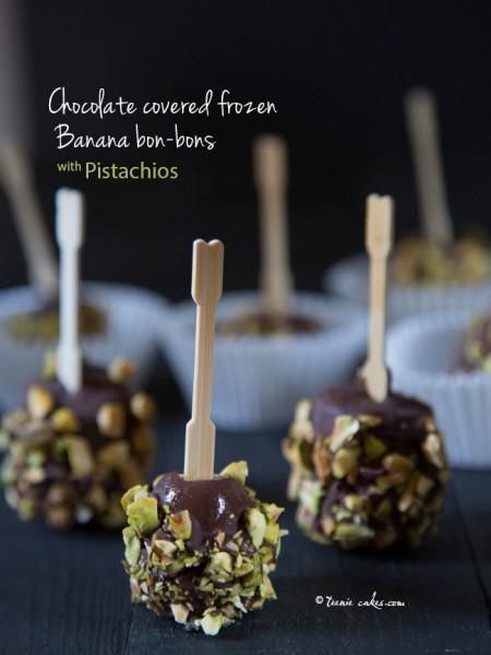 Chocolate covered frozen banana bon-bons with pistachios recipe | TeenieCakes.com