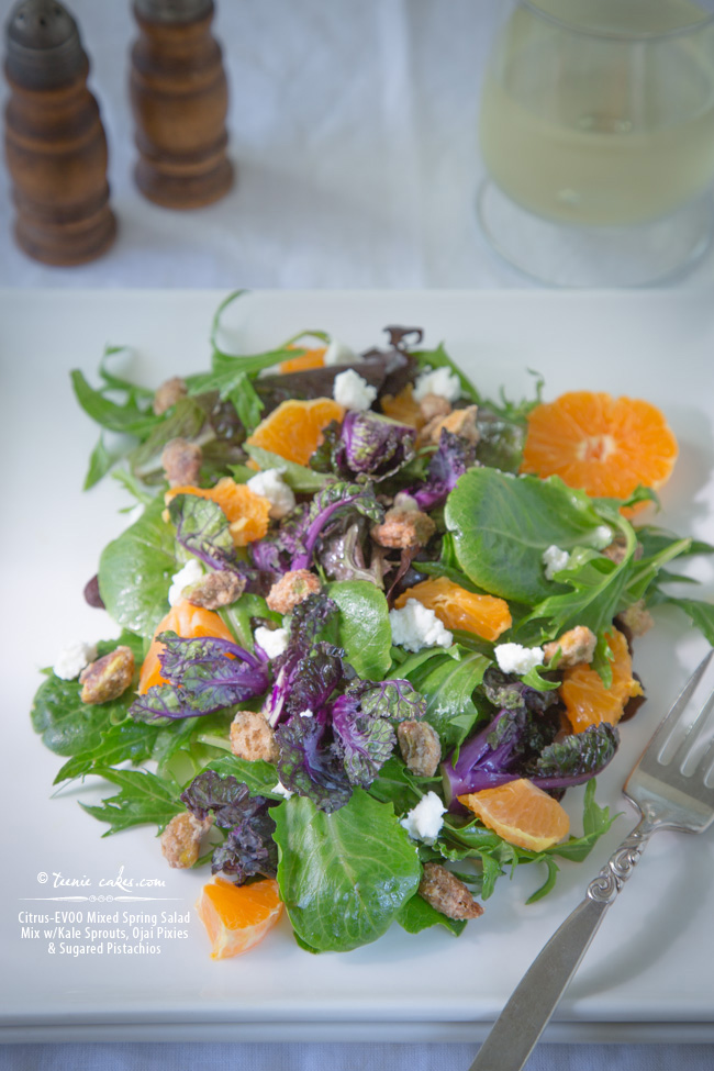 Citrus-EVOO Mixed Spring Salad Mix w/Kale Sprouts, Ojai Pixies and Sugared Pistachios
