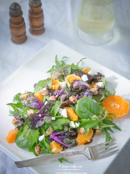 Citrus-EVOO Mixed Spring Salad Mix w/Kale Sprouts, Ojai Pixies & Sugared Pistachios