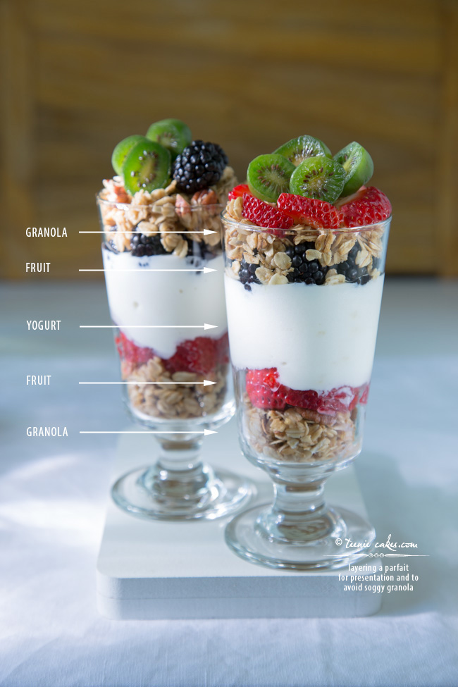 Layering a parfait for presentation and to avoid soggy granola - TeenieCakes.com