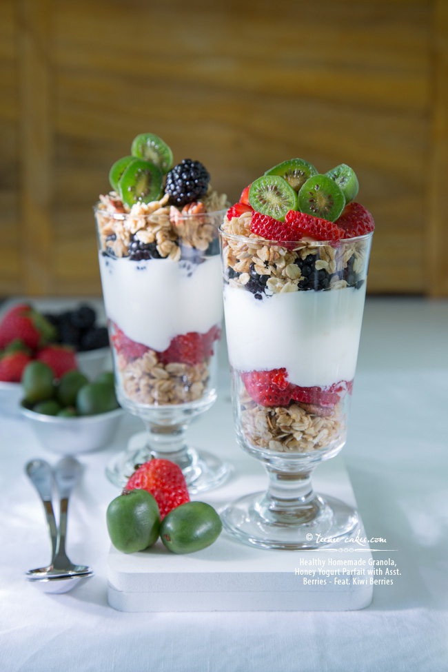 Healthy: Homemade Granola, Honeyed-Yogurt Berry Parfaits feat. Kiwi Berries recipe - TeenieCakes.com