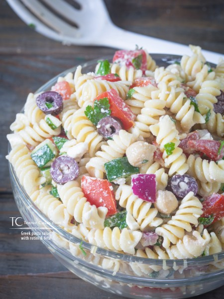 Greek pasta salad with rotini and feta