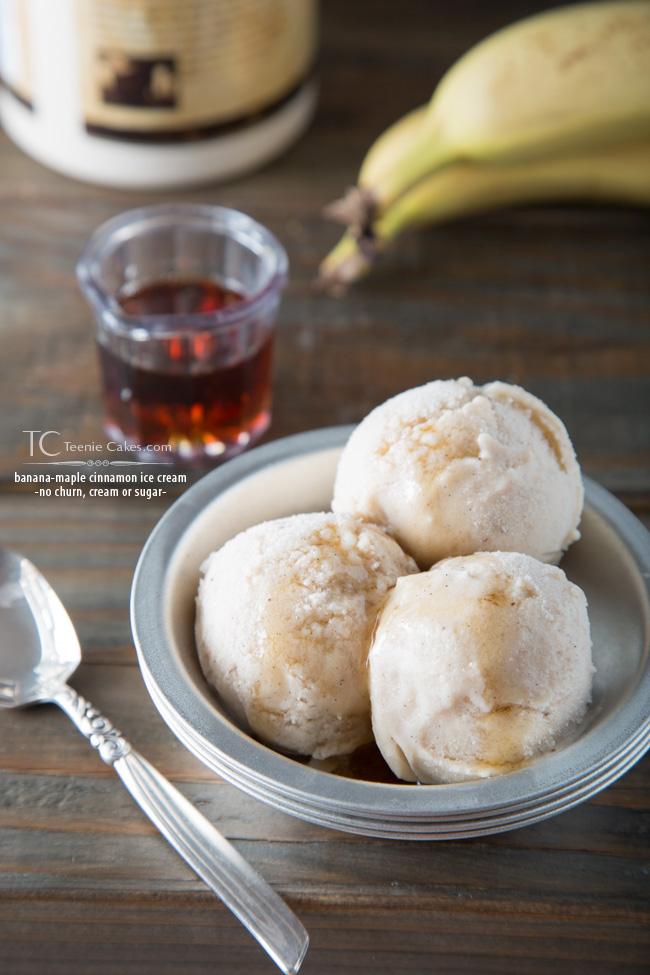 No churn, no cream & no white/brwn sugar added - Banana-Maple Cinnamon Ice-Cream recipe
