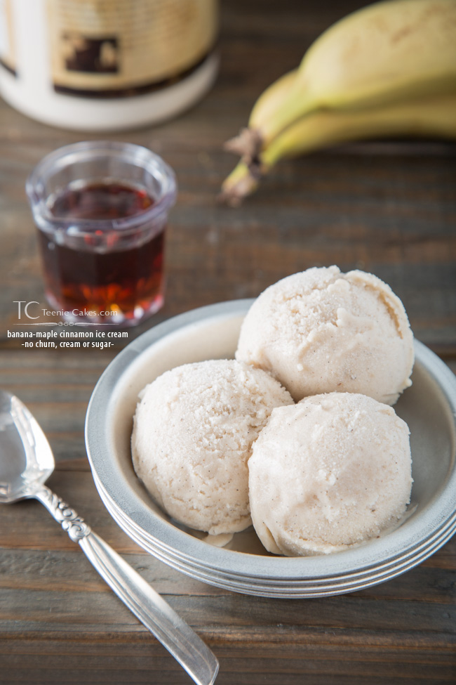 No churn, no cream & no white/brwn sugar added - Banana-Maple Cinnamon Ice-Cream recipe